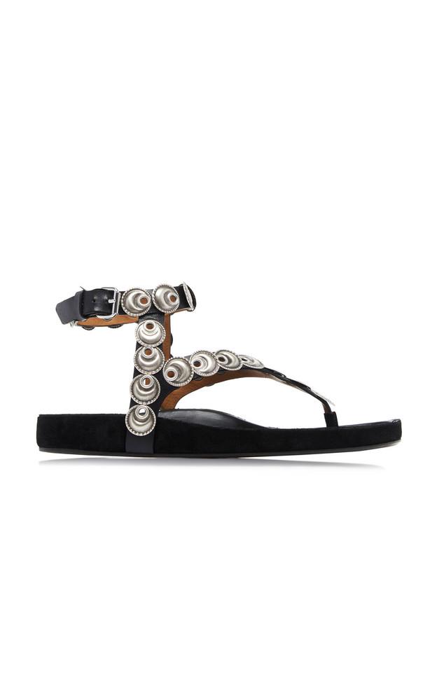 Isabel Marant Eldo Embellished Leather Sandals Size: 38 in silver