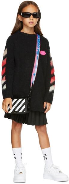 Off-White Kids Black Brushed Knit Logo Dress
