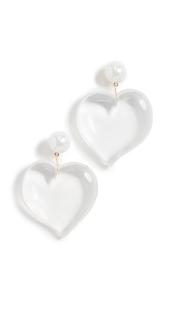 Kenneth Jay Lane Lucite Heart Drop Earrings in clear