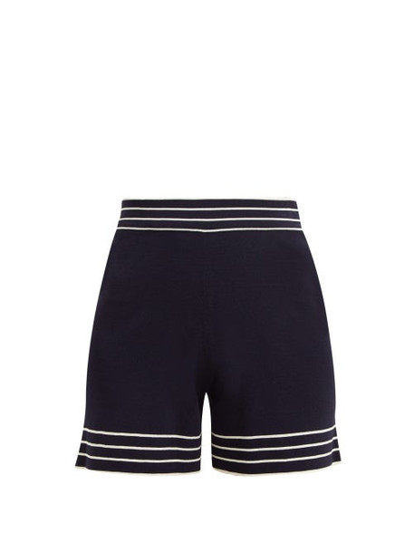 Odyssee - Liberte Striped Knitted Shorts - Womens - Navy