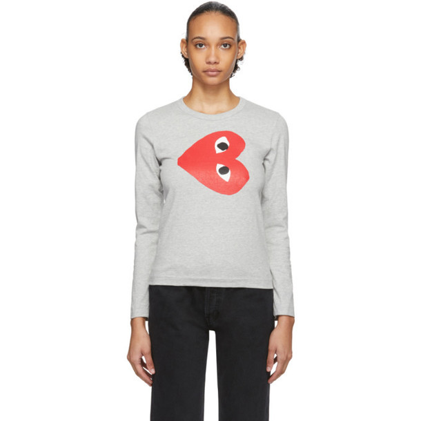 Comme des Garcons Play Grey Sideways Heart Long Sleeve T-Shirt