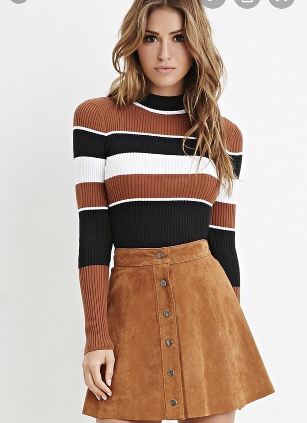 top forever 21 cotton sweater  striped turtleneck long sleeve