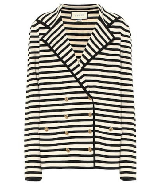 Gucci Striped wool cardigan in black