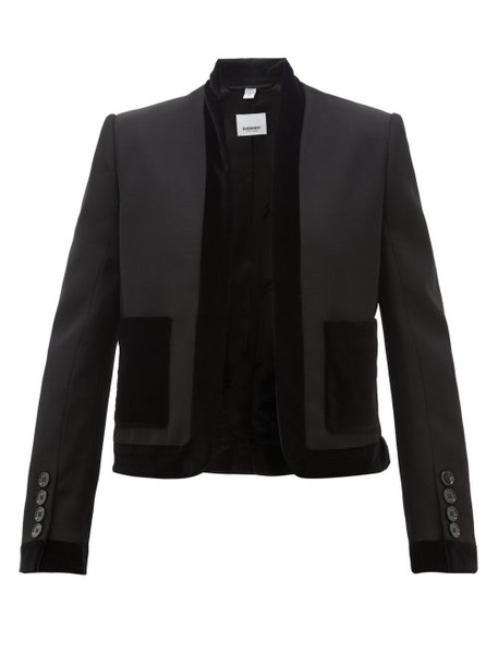 Burberry - Velvet Trimmed Wool Jacket - Womens - Black