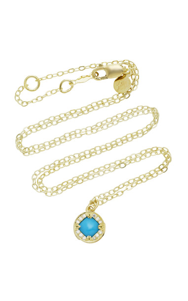 ILA Adalina 14K Gold Turquoise And Diamond Necklace in blue