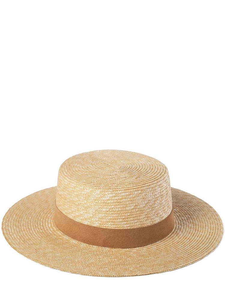 LACK OF COLOR The Spencer Boater Raffia Hat in camel