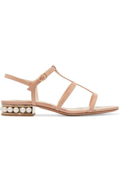 Nicholas Kirkwood - Casati Embellished Patent-leather Sandals - Neutral