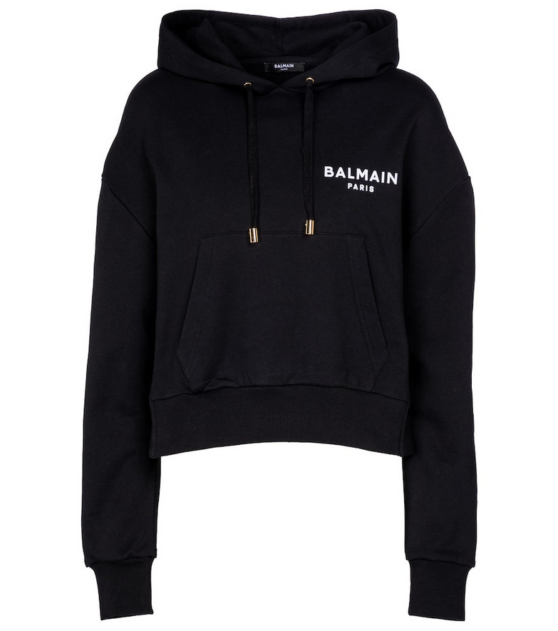 Balmain Logo cotton jersey hoodie in white