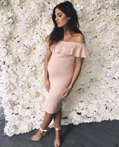 dress,pink dress,dress with ruffles,off the shoulder