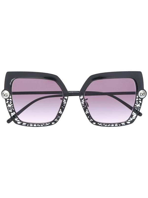 Dolce & Gabbana Eyewear cut-out angled sunglasses in black