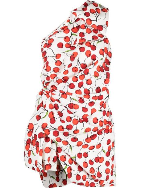 Saint Laurent cherry print one-shoulder dress - White