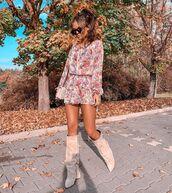 dress,mini dress,floral dress,ruffle dress,knee high boots,suede boots,bag