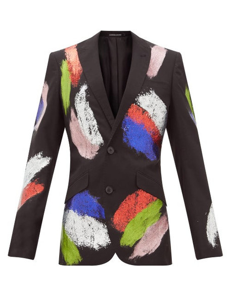 Germanier - Glitter Embellished Single Breasted Blazer - Womens - Black Multi