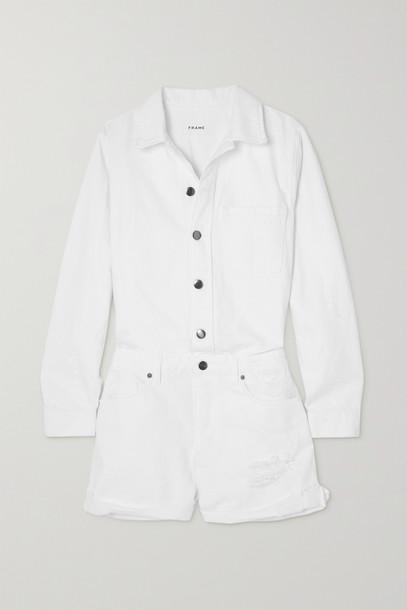 FRAME - Distressed Denim Playsuit - White