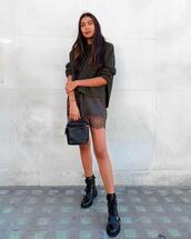 shoes,dress,mini dress,knitted dress,chanel bag,black boots,combat boots