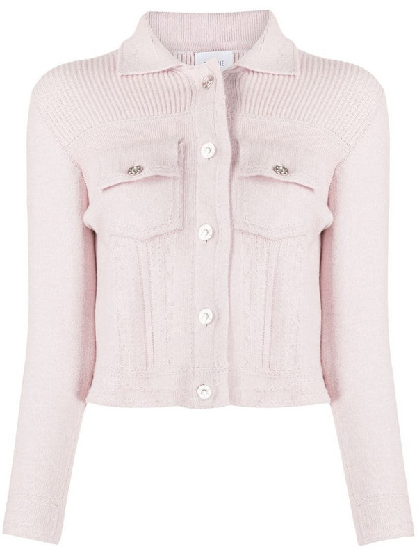Barrie ribbed panel knitted cardigan in pink