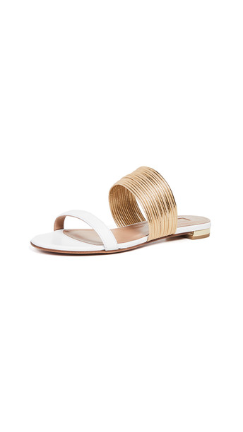 Aquazzura Rendez Vous Sandals in gold / white