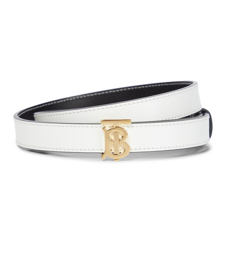 Burberry TB reversible leather belt in white