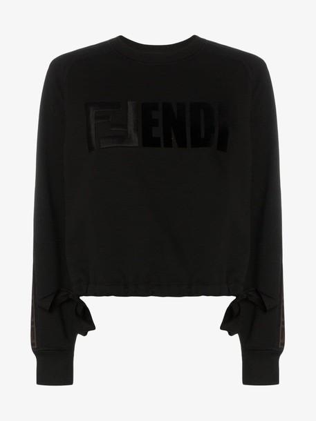Fendi Logo sleeve cotton sweatshirt in black