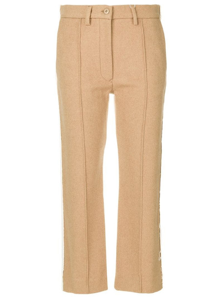 MM6 Maison Margiela contrast panel cropped trousers in neutrals