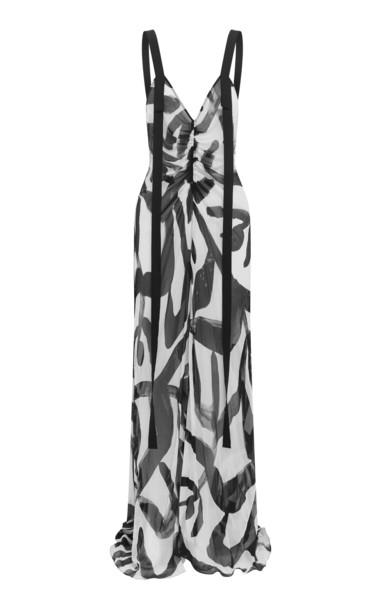 LEE MATHEWS Estelle V Neck Silk Crinkle Slip Dress in black