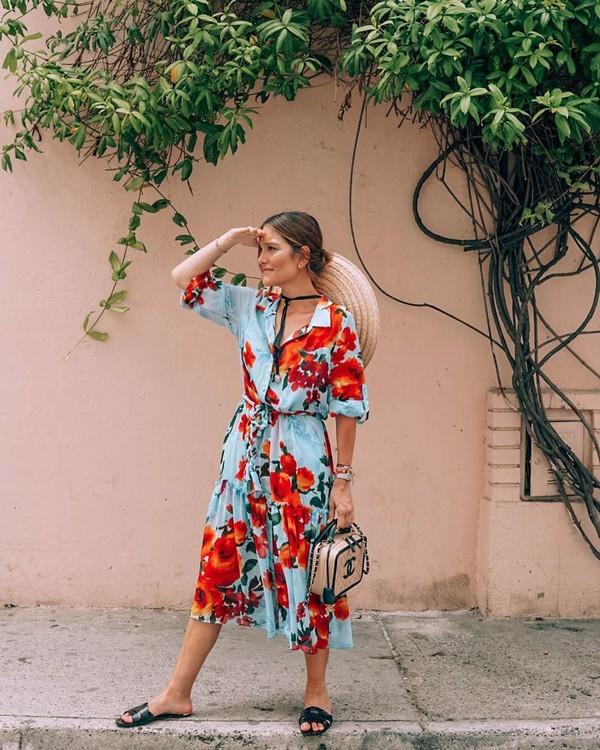 dress floral dress shirt dress slide shoes chanel bag hat