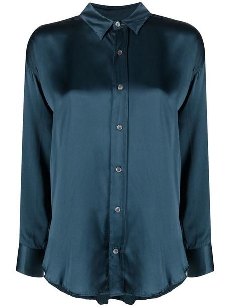 Katharine Hamnett London silk long-sleeved shirt in blue