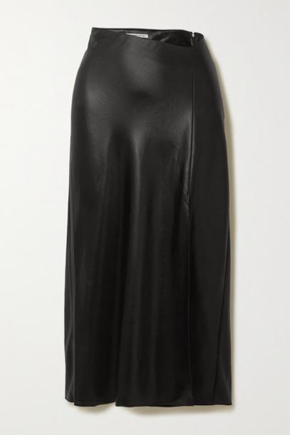 alexanderwang.t - Wash And Go Asymmetric Satin Midi Skirt - Black