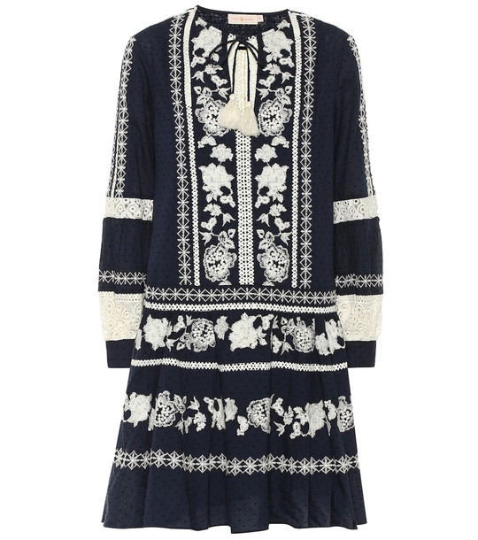 Tory Burch Boho embroidered cotton minidress in blue