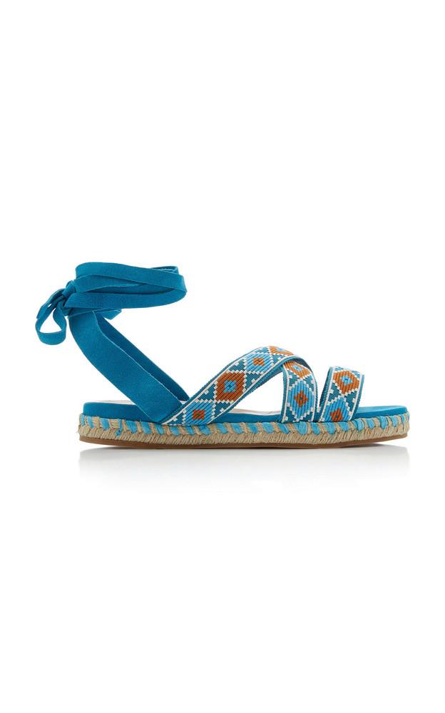 Miu Miu Wrap-around Suede Sandals in multi
