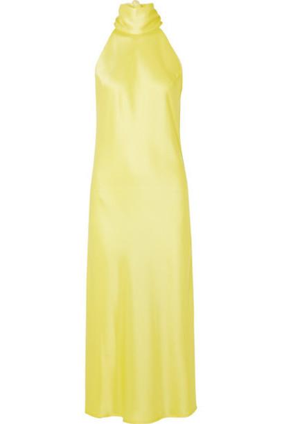 Galvan - Sienna Satin Halterneck Midi Dress - Yellow