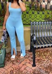 jumpsuit,blue,light blue,slit,tank top
