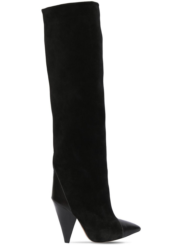 ISABEL MARANT 75mm Leoul Suede & Leather Tall Boots in black