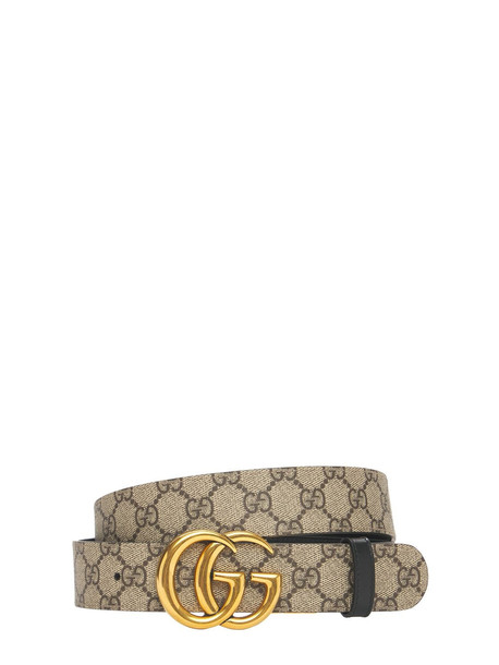 GUCCI 3.7cm Gg Marmont Reversible Canvas Belt in black