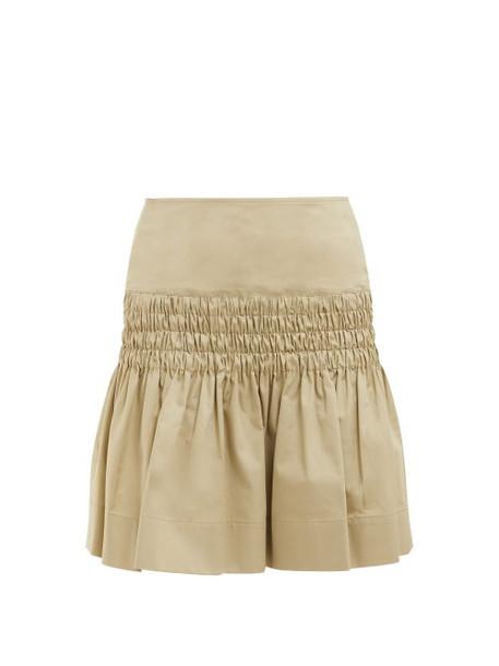 Isabel Marant Étoile - Oliko Smocked Cotton Poplin Skirt - Womens - Beige
