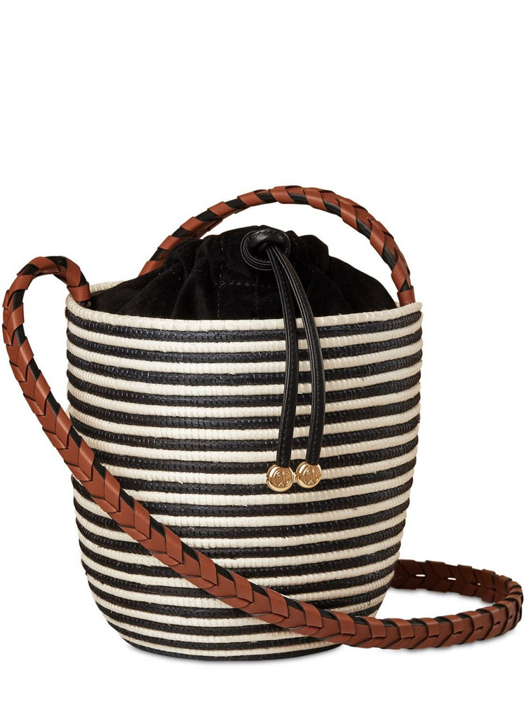 CESTA COLLECTIVE Cotton Canvas Lunchpail Shoulder Bag in black / white