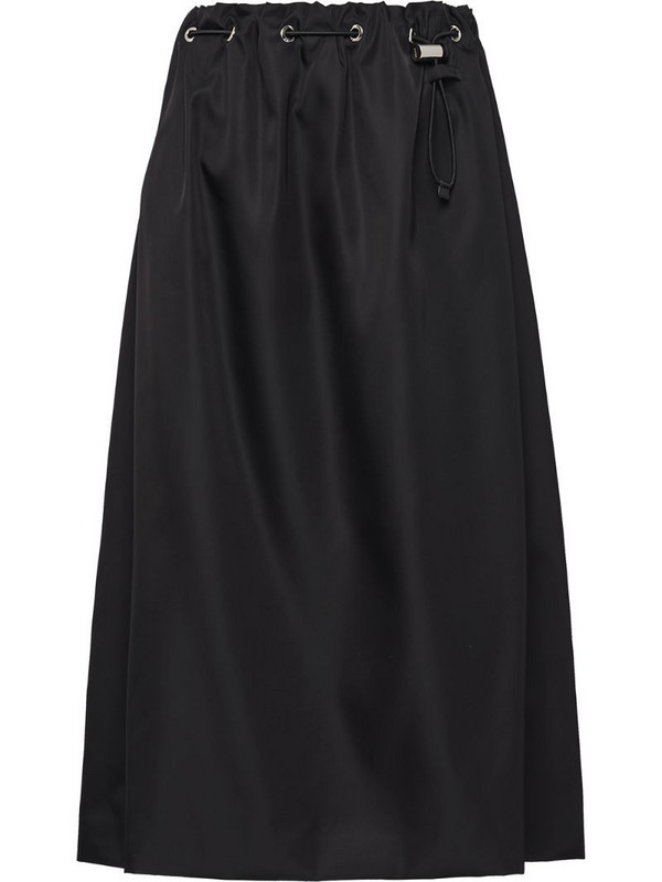 Prada drawstring a-line skirt in black