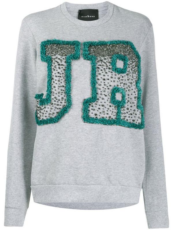 John Richmond Binga rhinestone logo sweatshirt in grey