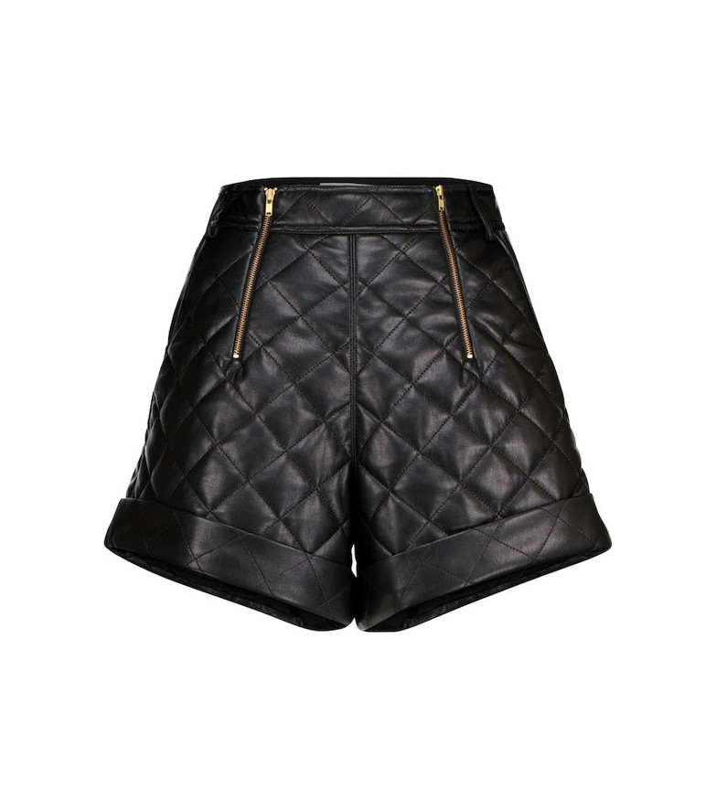 Self-Portrait Quilted faux leather shorts in black