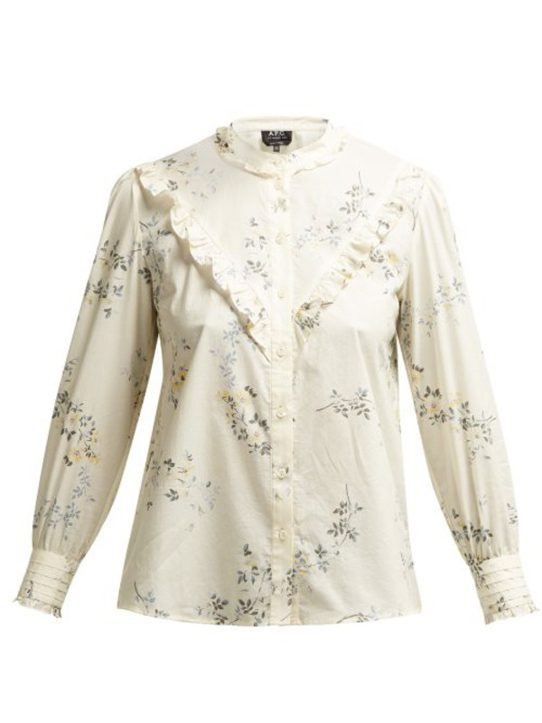 A.P.C. A.p.c. - Polly Floral Print Cotton Poplin Blouse - Womens - White