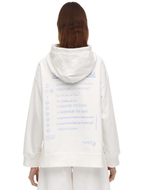 MM6 MAISON MARGIELA Back Print Cotton Sweatshirt Hoodie in white