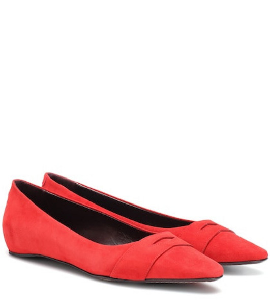 Bougeotte Suede ballet flats in red