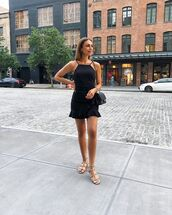 dress,mini dress,black dress,sleeveless dress,flat sandals,black bag