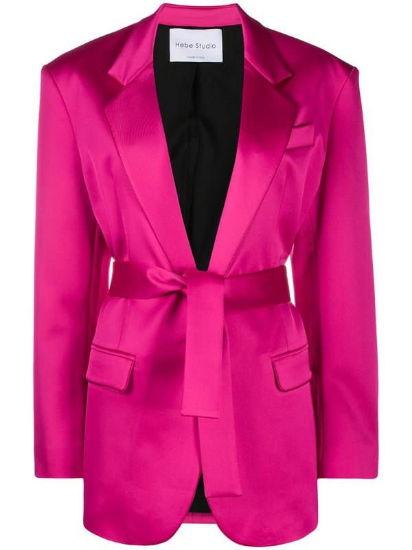 Hebe Studio belted blazer in pink