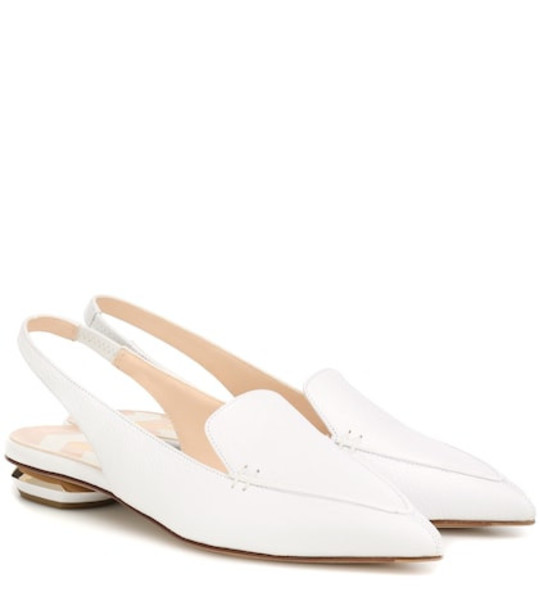 Nicholas Kirkwood Beya leather slingback slippers in white