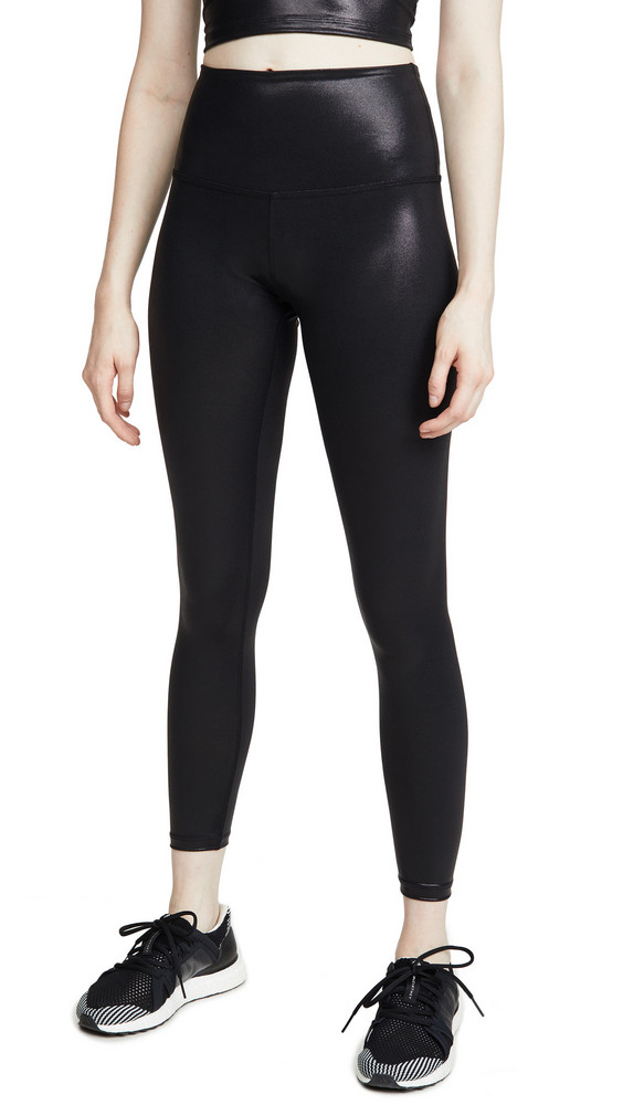 Beyond Yoga Pearlized High Waisted Midi Leggings in black
