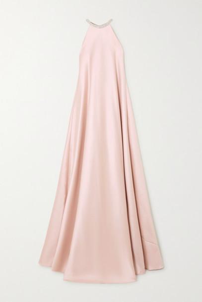 Reem Acra - Crystal-embellished Duchesse-satin Halterneck Gown - Blush