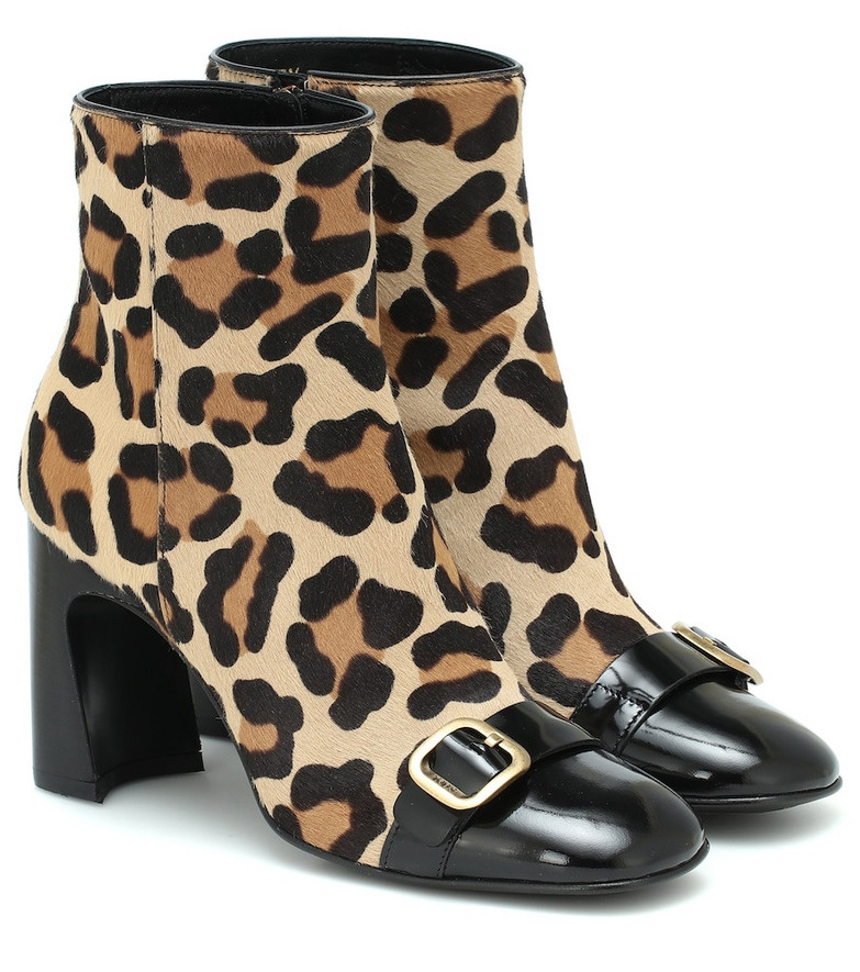 Tod's Leopard-print calf hair ankle boots in brown