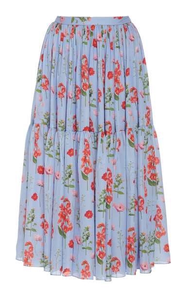 Carolina Herrera Ruffle Hem Print Cotton Skirt Size: 0 in blue
