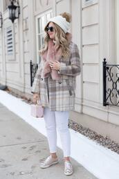 suburban faux-pas,blogger,hat,jacket,jeans,shoes,sunglasses,bag,beanie,winter outfits,sneakers,white pants